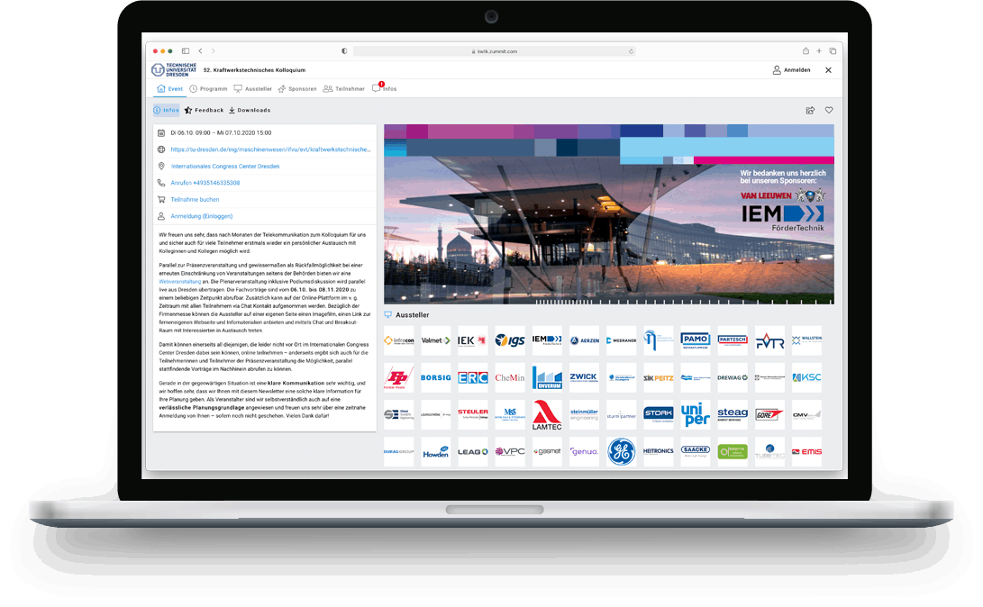 zummit Referenz: TU Dresden Event-Platform - Desktop