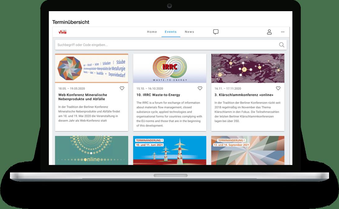 zummit Referenz: Vivis Event-Platform - Desktop